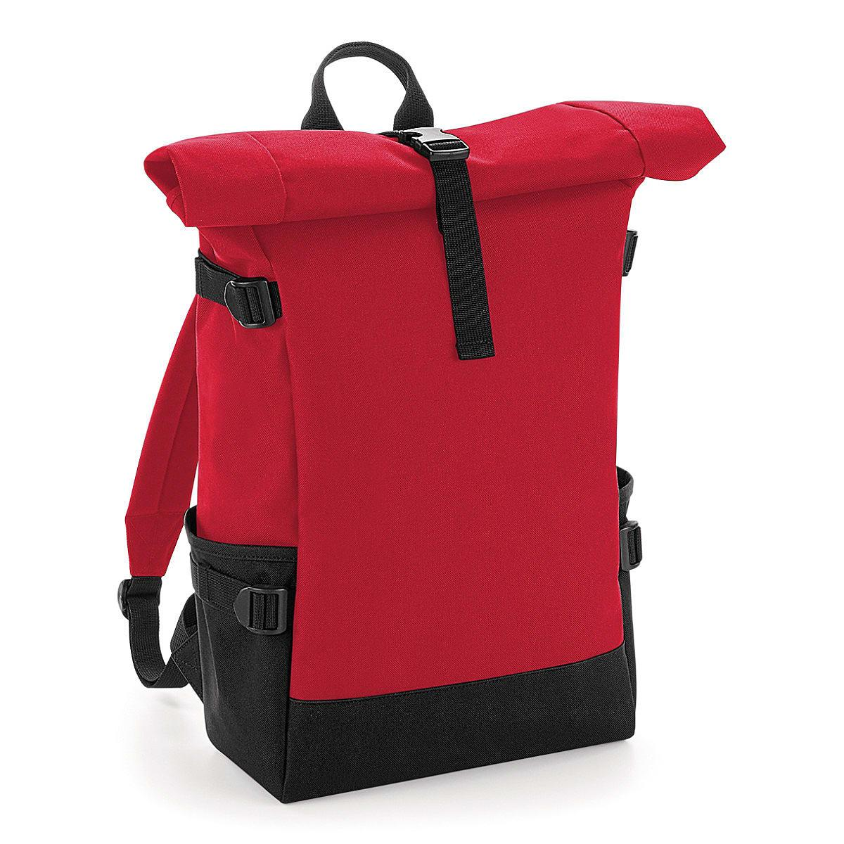 Bagbase Block Roll-Top Backpack in Classic Red / Black (Product Code: BG858)