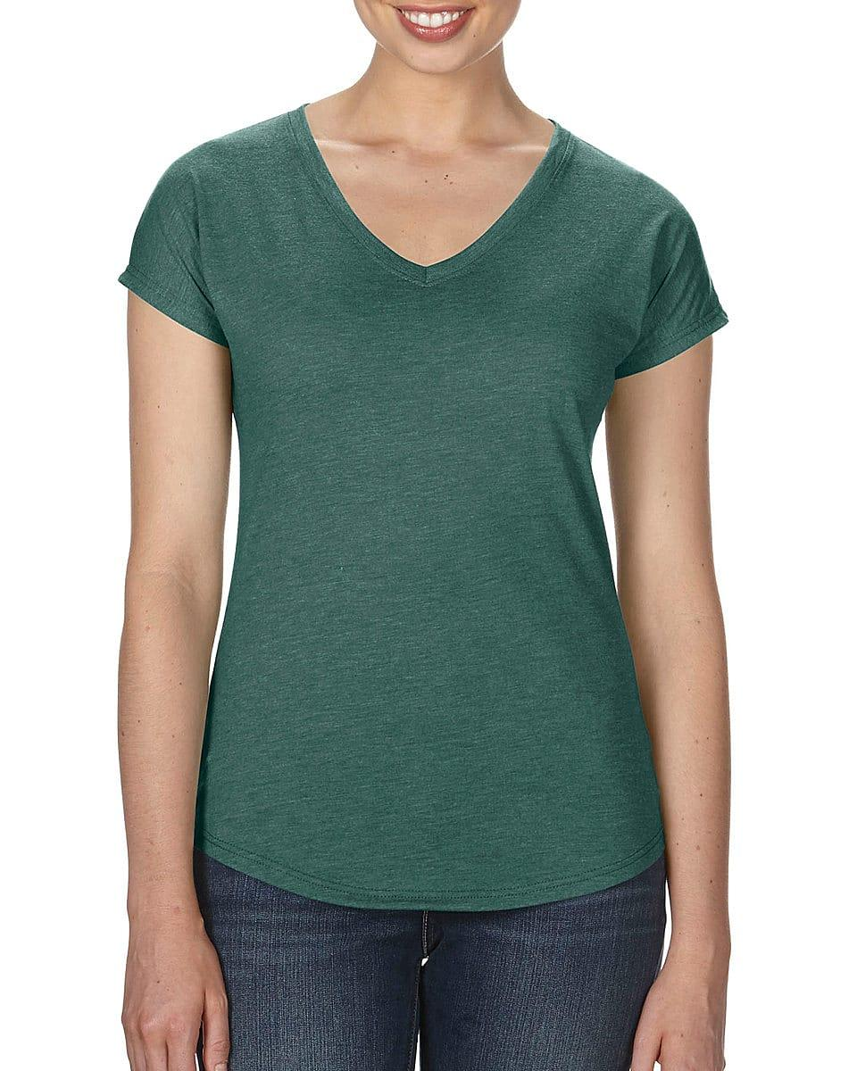 Anvil Womens Tri-Blend V-Neck T-Shirt in Heather Dark Green (Product Code: 6750VL)