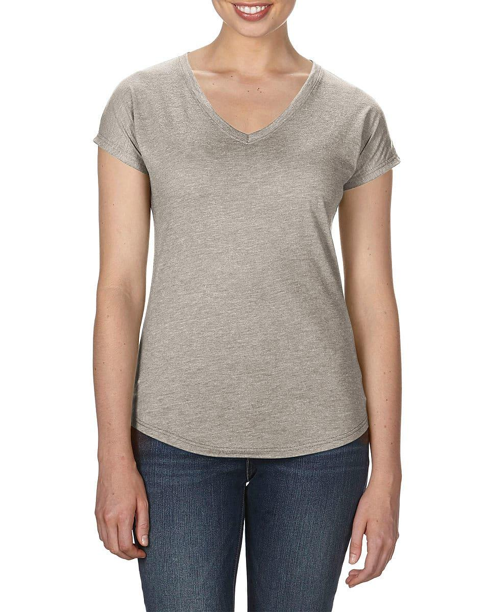 Anvil Womens Tri-Blend V-Neck T-Shirt in Heather Slate (Product Code: 6750VL)