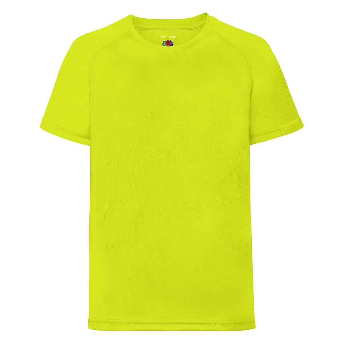 Fruit Of The Loom Childrens Kids Performance T-Shirt in Bright Yellow (Product Code: 61013)