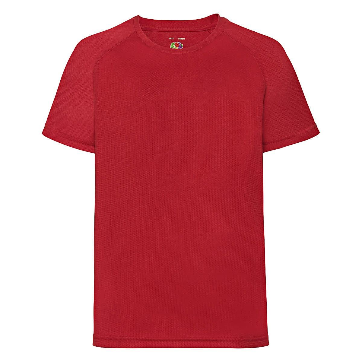 Fruit Of The Loom Childrens Kids Performance T-Shirt in Red (Product Code: 61013)