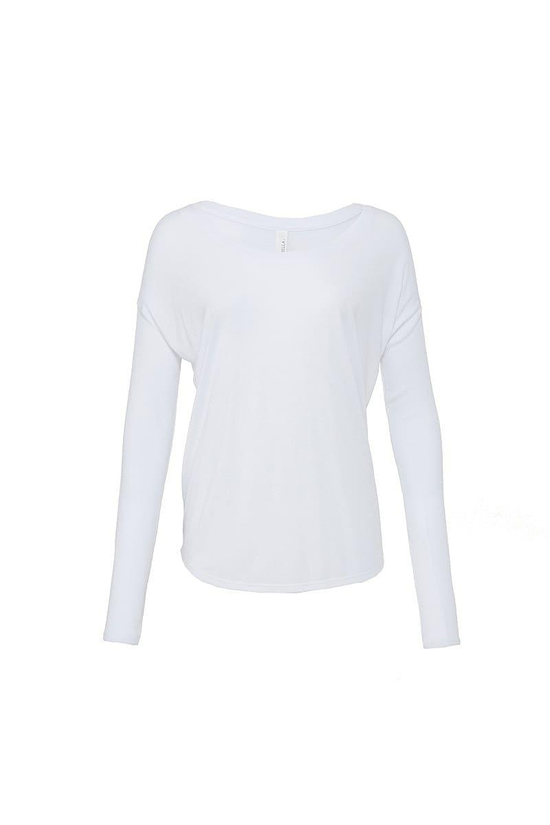 Bella Long-Sleeve Flowy 2x1 T-Shirt in White (Product Code: BE8852)