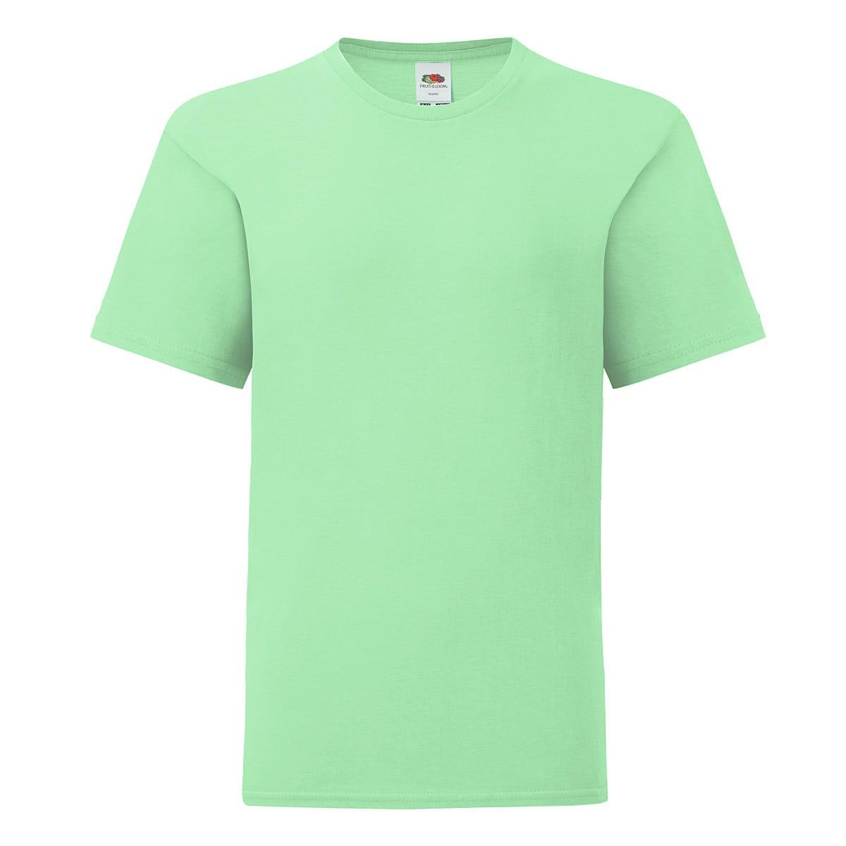 Fruit Of The Loom Kids Iconic T-Shirt in Neo Mint (Product Code: 61023)