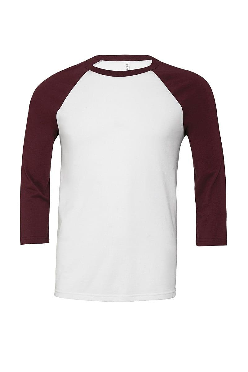 Bella Canvas 3/4 Baseball T-Shirt in White / Maroon (Product Code: CA3200)