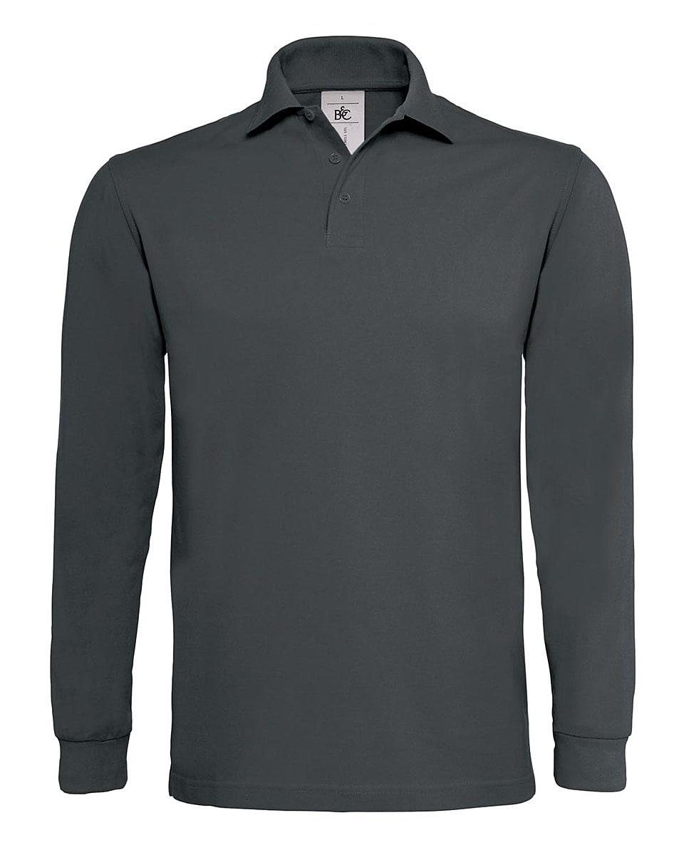 B&C Heavymill Long-Sleeve Polo Shirt in Dark Grey (Product Code: PU423)