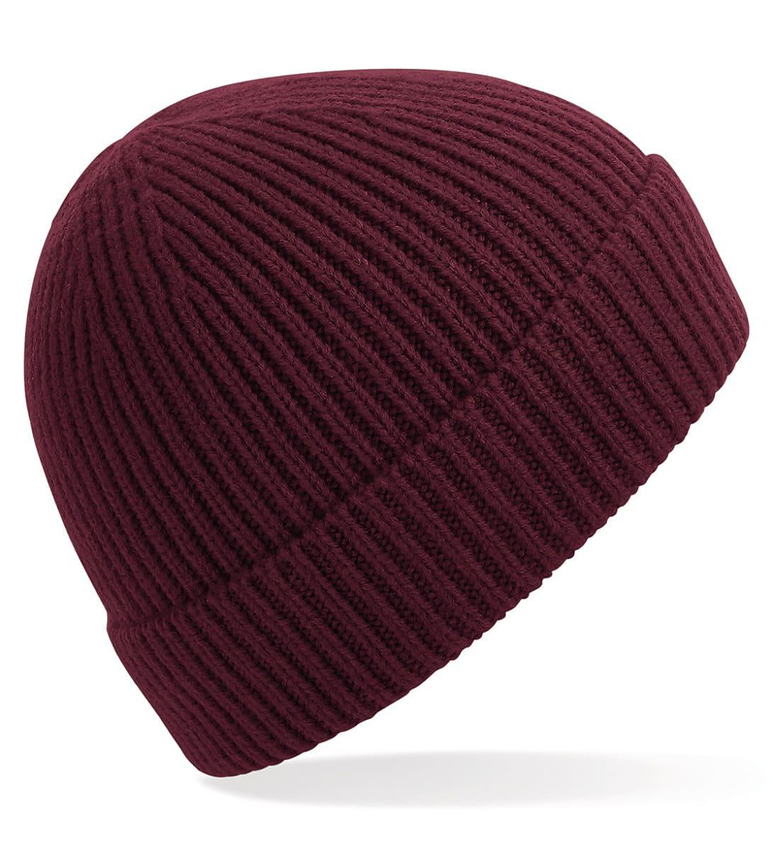 Beechfield Engineered Knit Ribbed Beanie Hat in Burgundy (Product Code: B380)