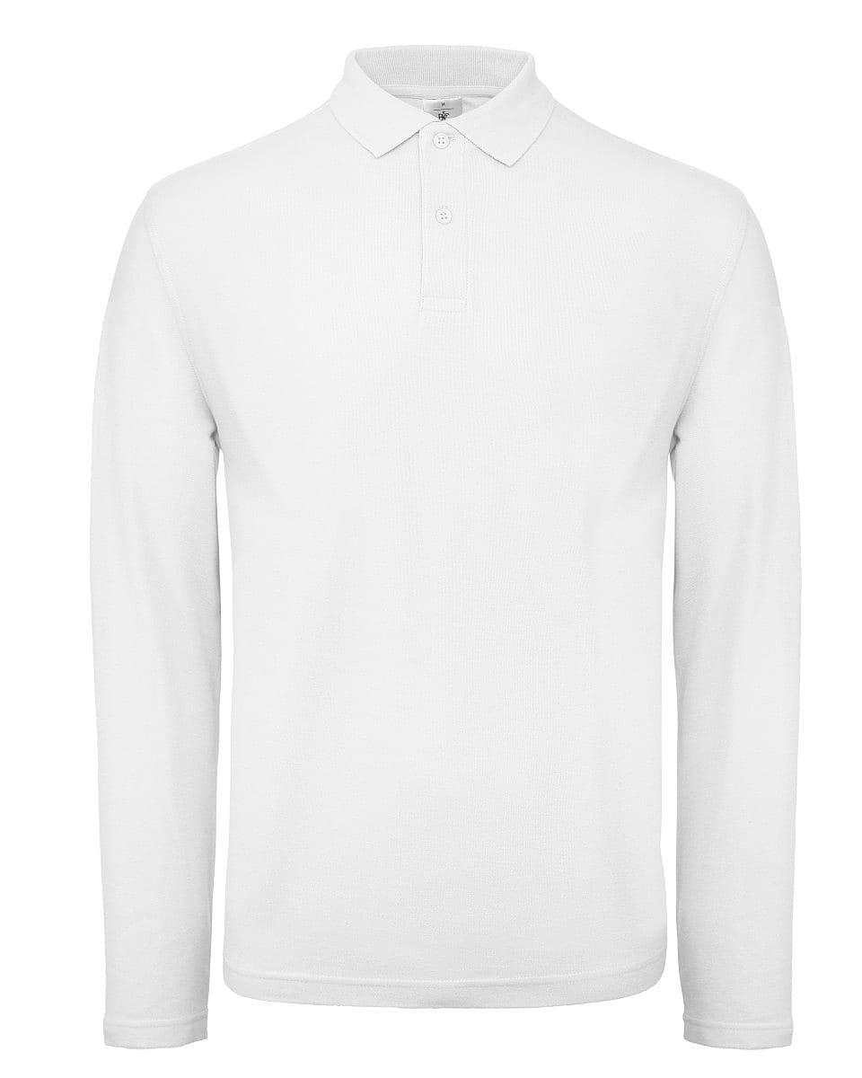 B&C Mens ID.001 Long-Sleeve Polo Shirt in White (Product Code: PUI12)