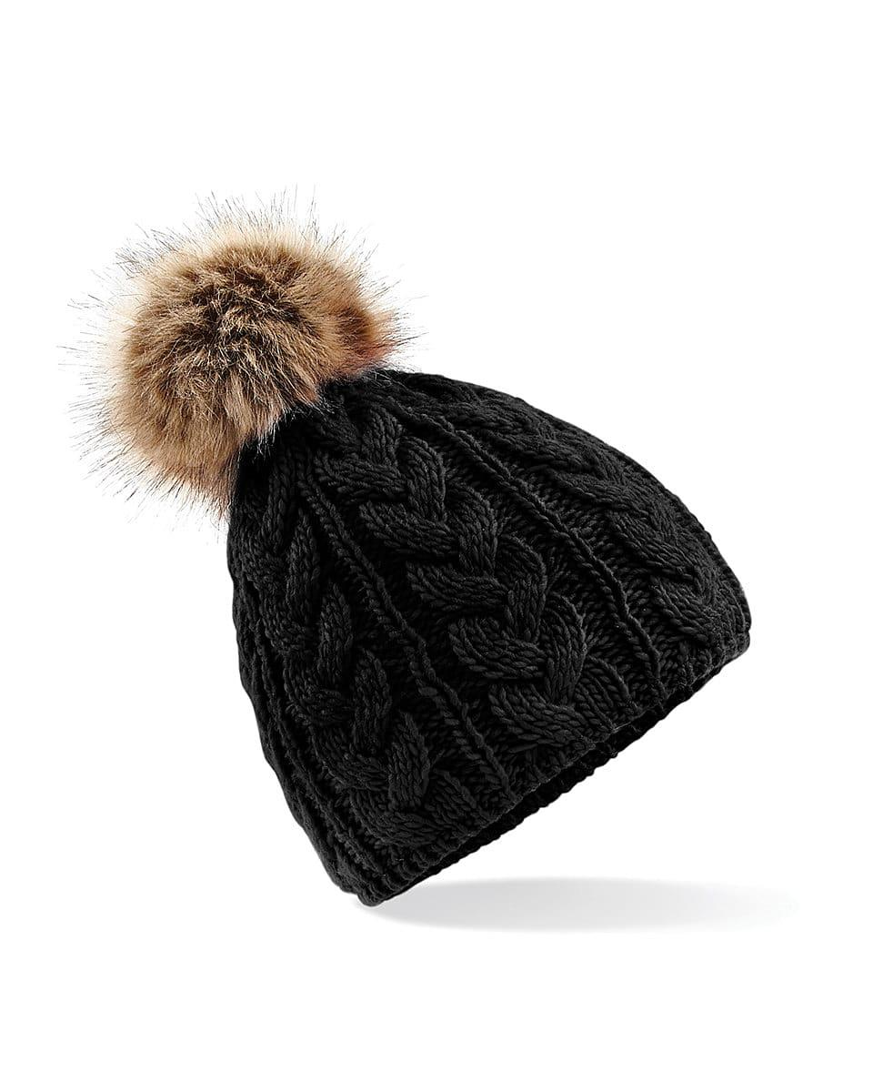 Beechfield Fur Pop Pom Cable Beanie Hat in Black (Product Code: B410)