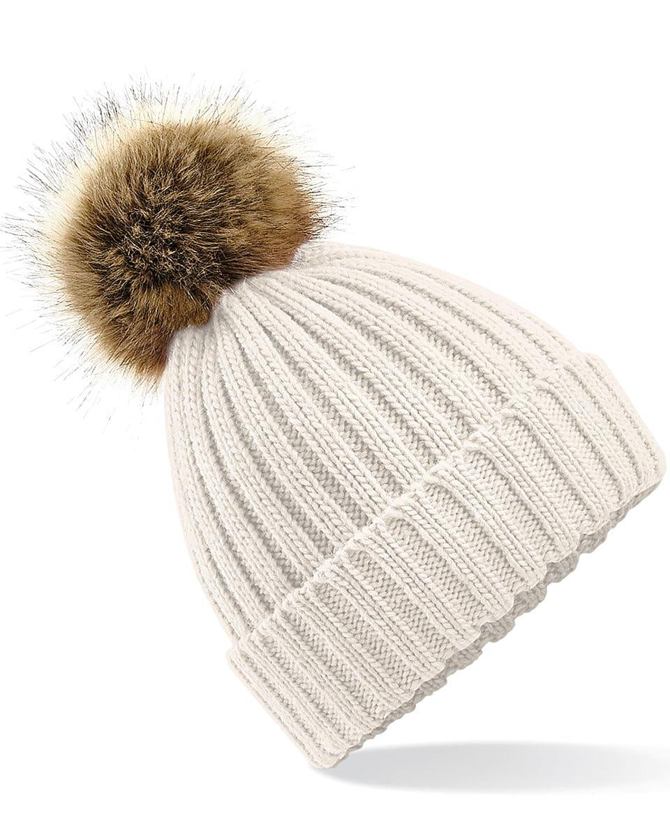 Beechfield Fur Pop Pom Chunky Beanie Hat in Oatmeal (Product Code: B412)