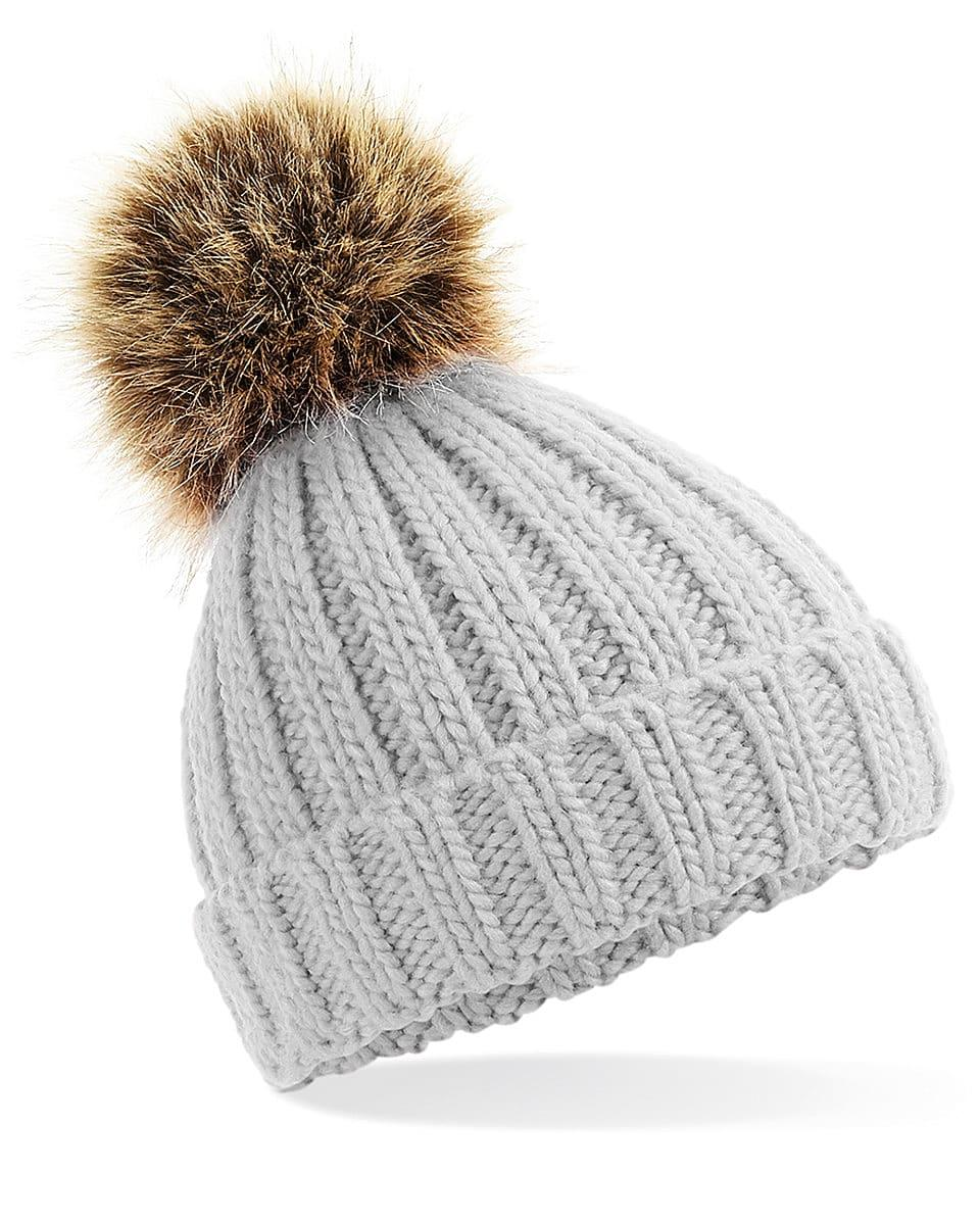 Beechfield Infant PomPom Chunky Beanie Hat in Light Grey (Product Code: B412A)