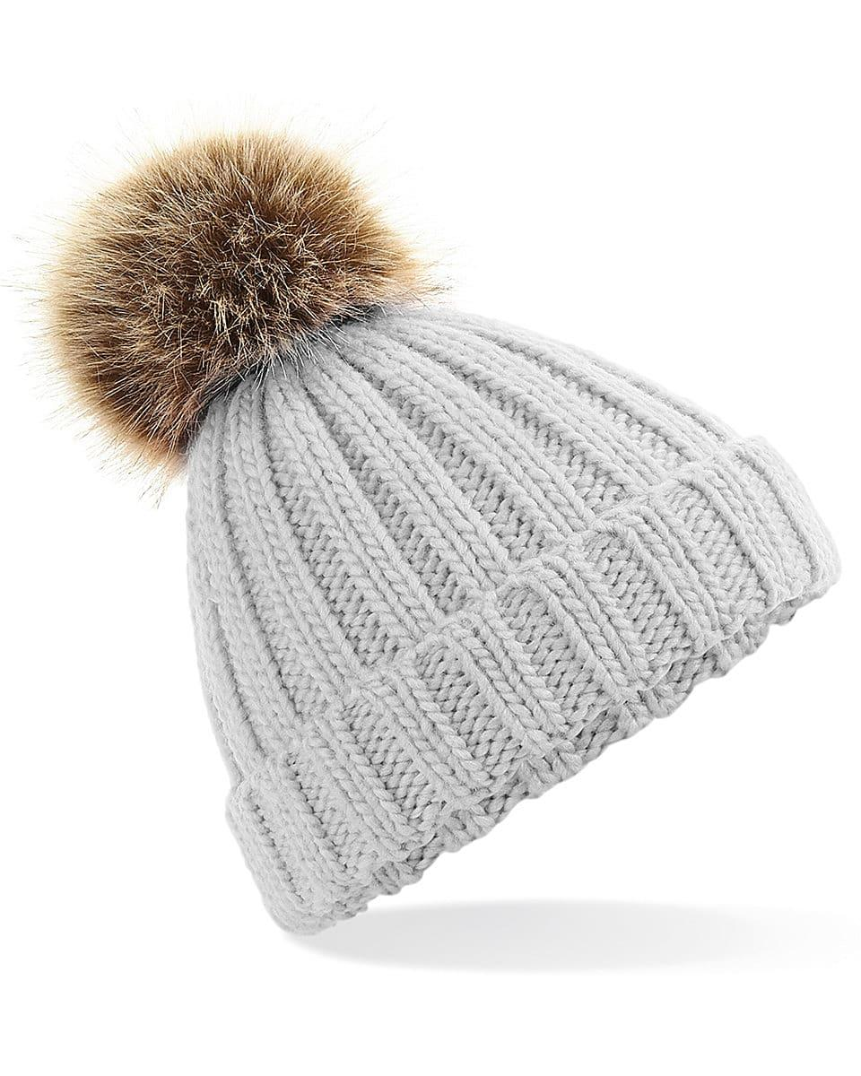 Beechfield Junior PomPom Chunky Beanie Hat in Light Grey (Product Code: B412B)