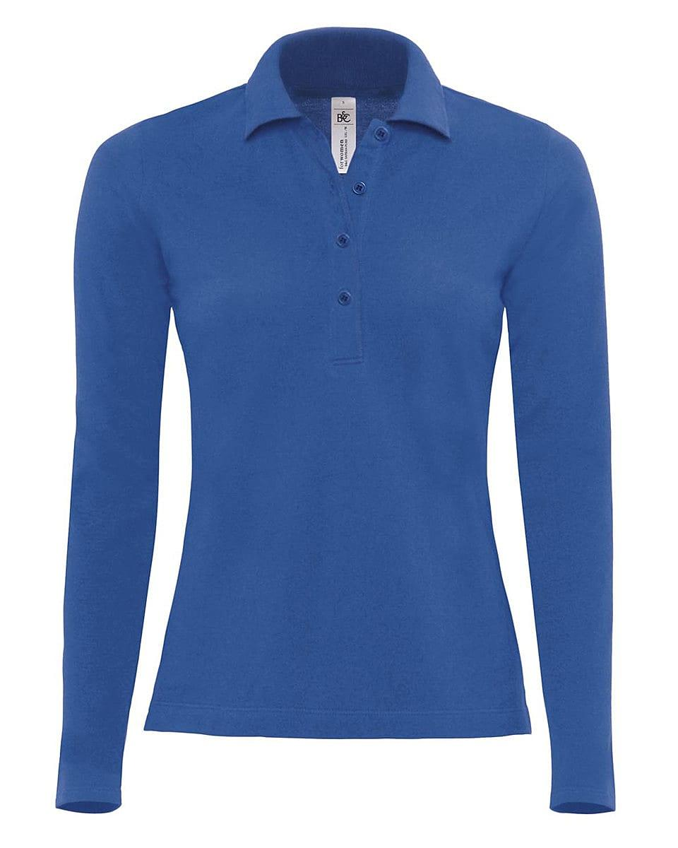 B&C Womens Safran Pure Long-Sleeve Polo Shirt in Royal Blue (Product Code: PW456)