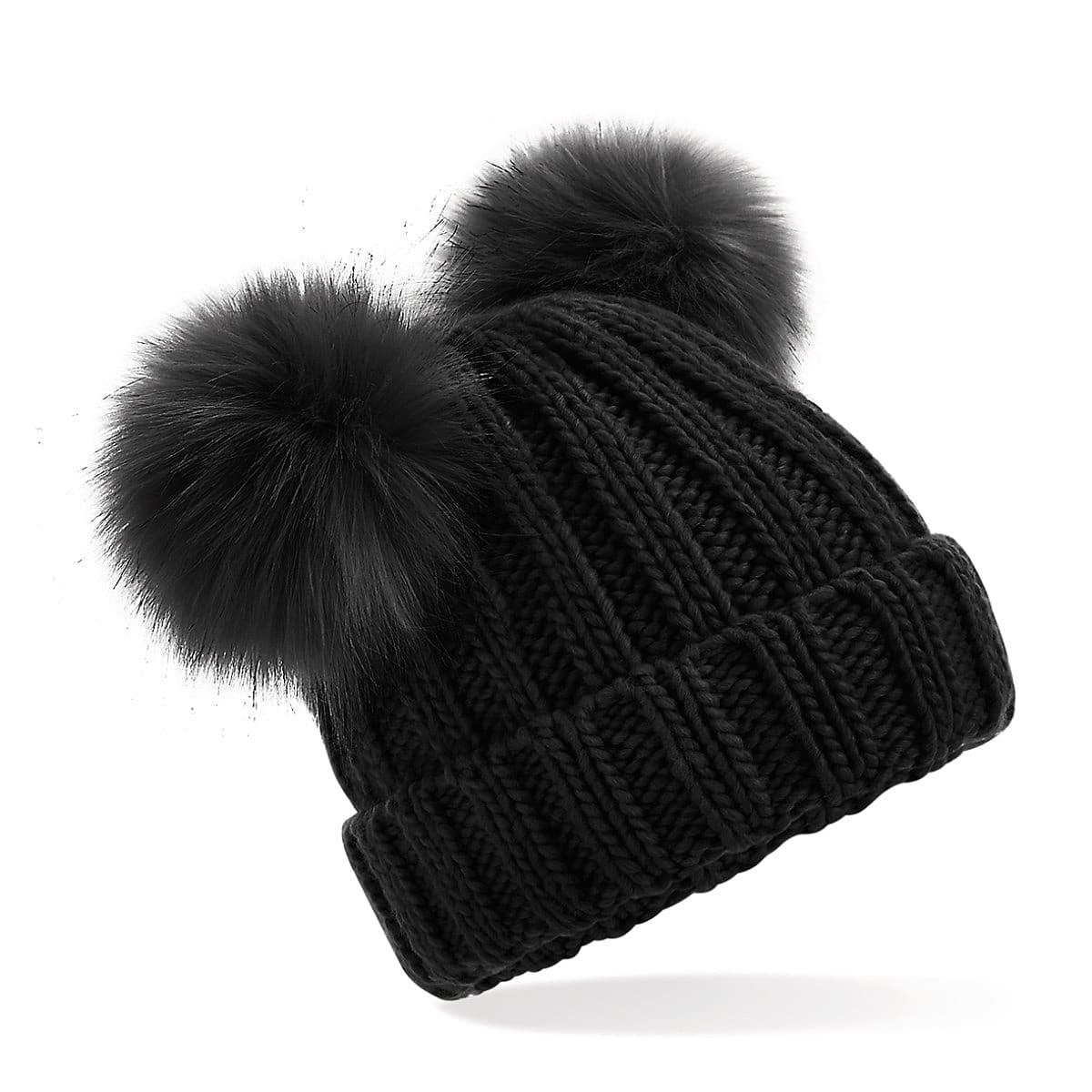 Beechfield Junior Double Pom Pom Beanie Hat in Black (Product Code: B414B)