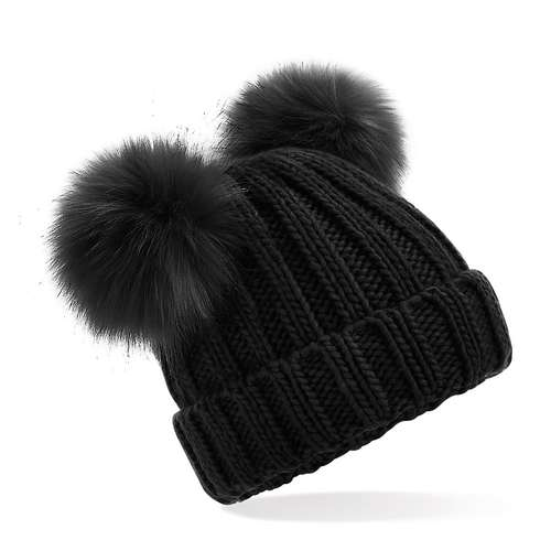Beechfield Junior Double Pom Pom Beanie Hat