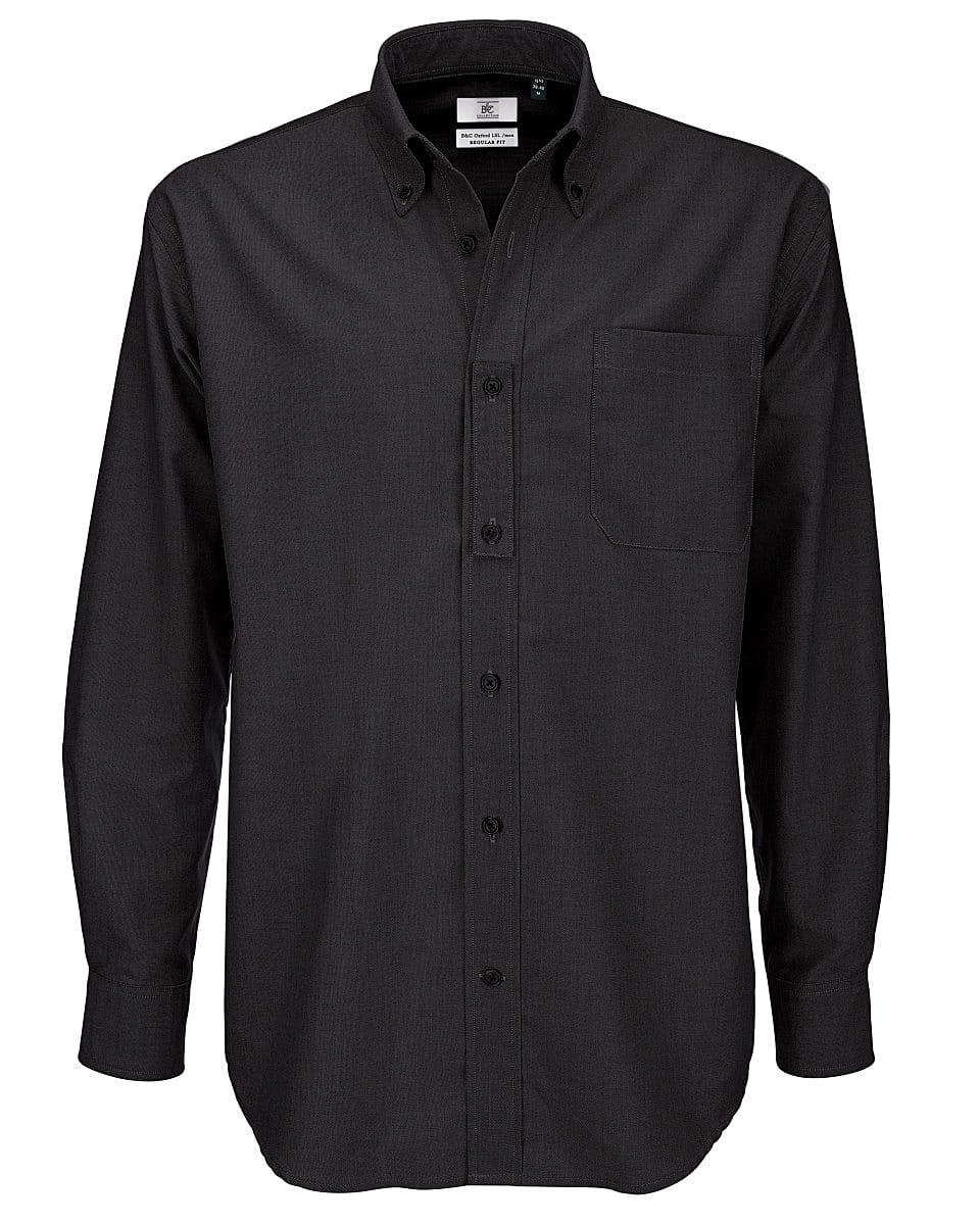 B&C Mens Oxford Long-Sleeve Shirt in Black (Product Code: SMO01)