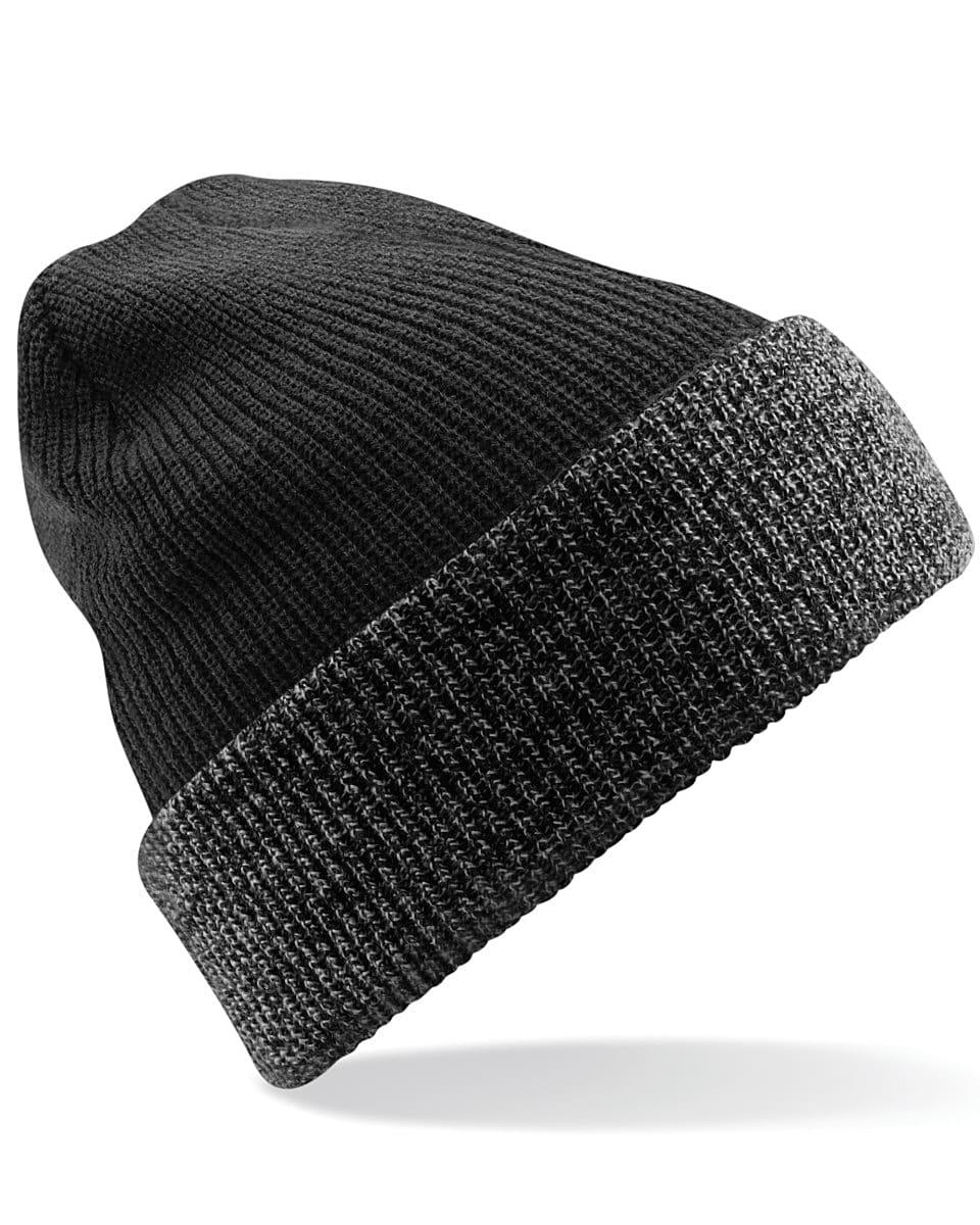 Beechfield Reversible Heritage Beanie Hat in Antique Grey / Black (Product Code: B428)