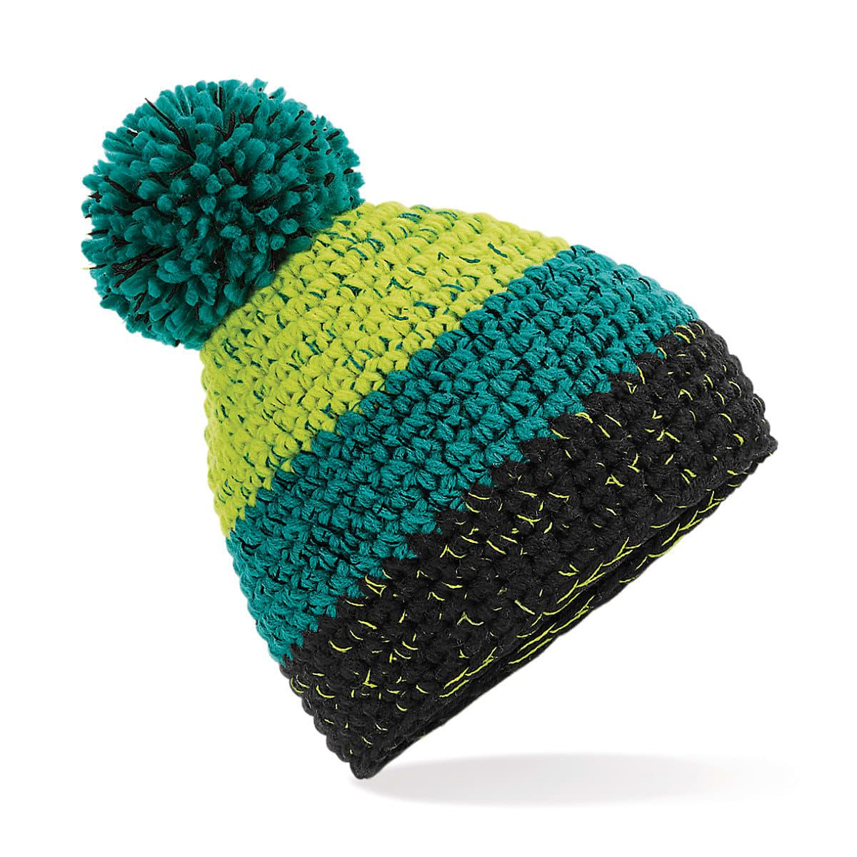 Beechfield Freestyle Beanie Hat in Citron / Emerald / Black (Product Code: B436)