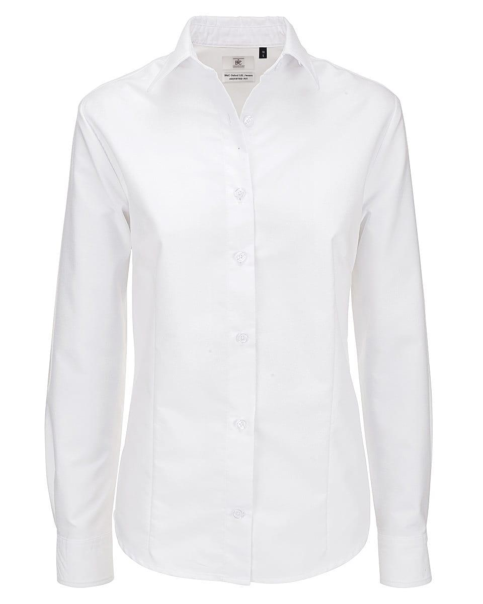 B&C Womens Oxford Long-Sleeve Shirt in White (Product Code: SWO03)