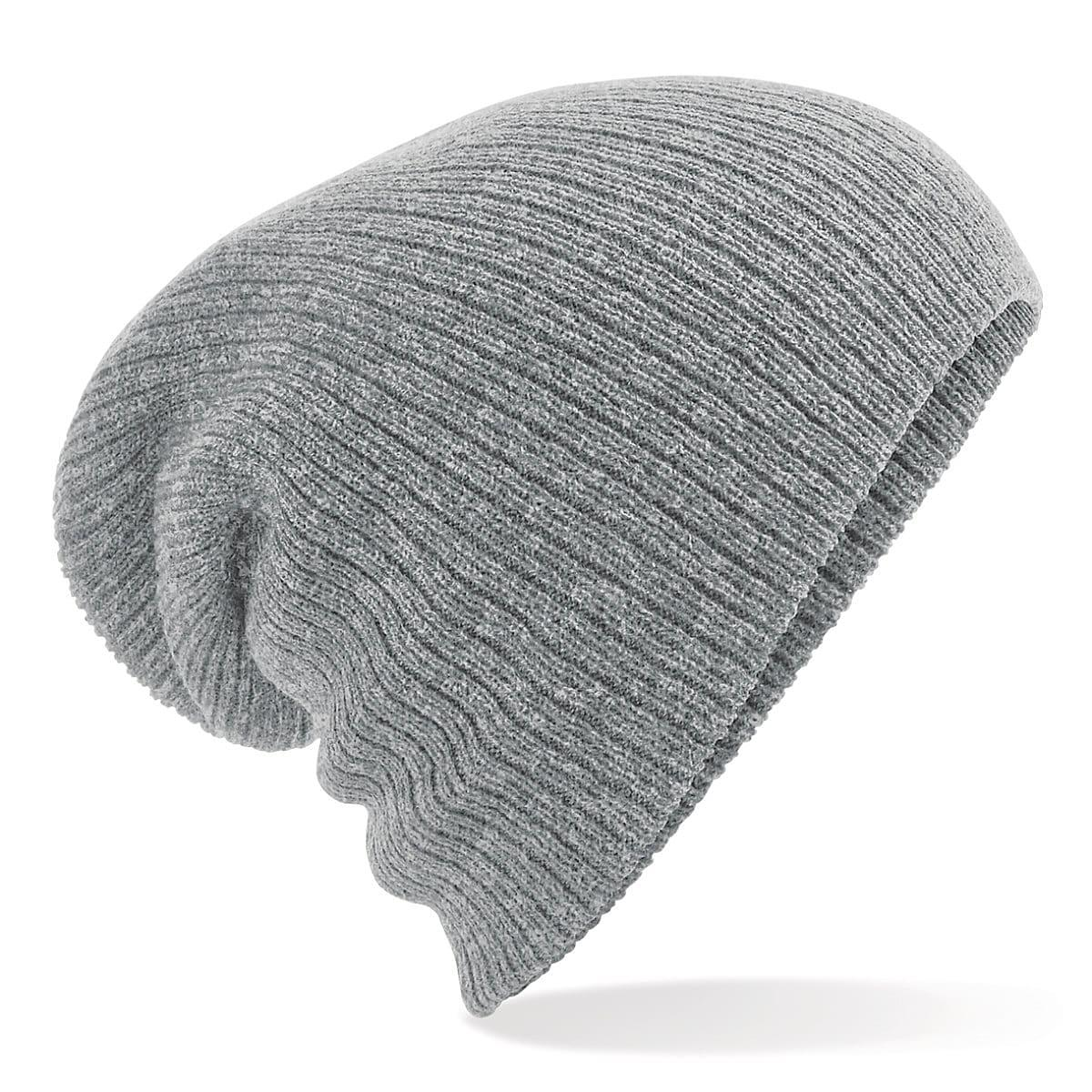 Beechfield Heavy Gauge Slouch Beanie Hat in Heather Grey (Product Code: B449)