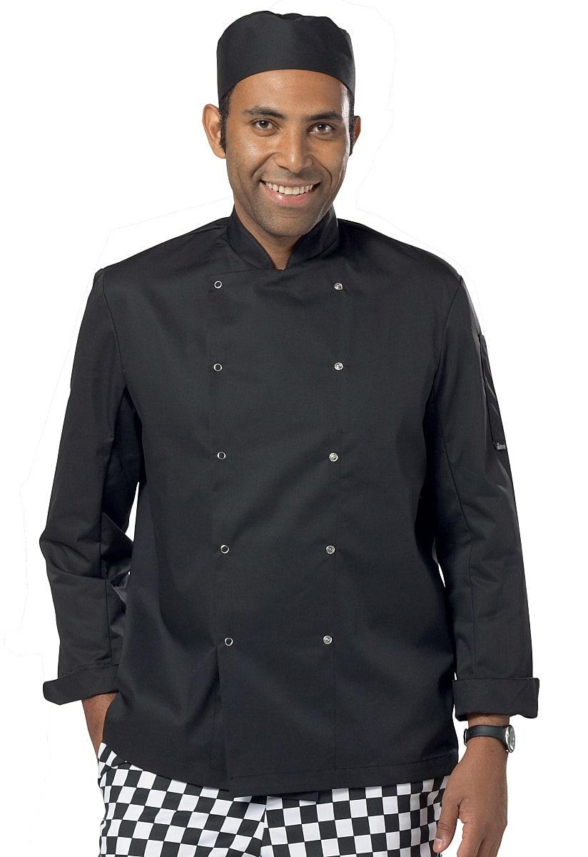 Dennys Economy Long-Sleeve Chefs Jacket in Black (Product Code: DD08C)