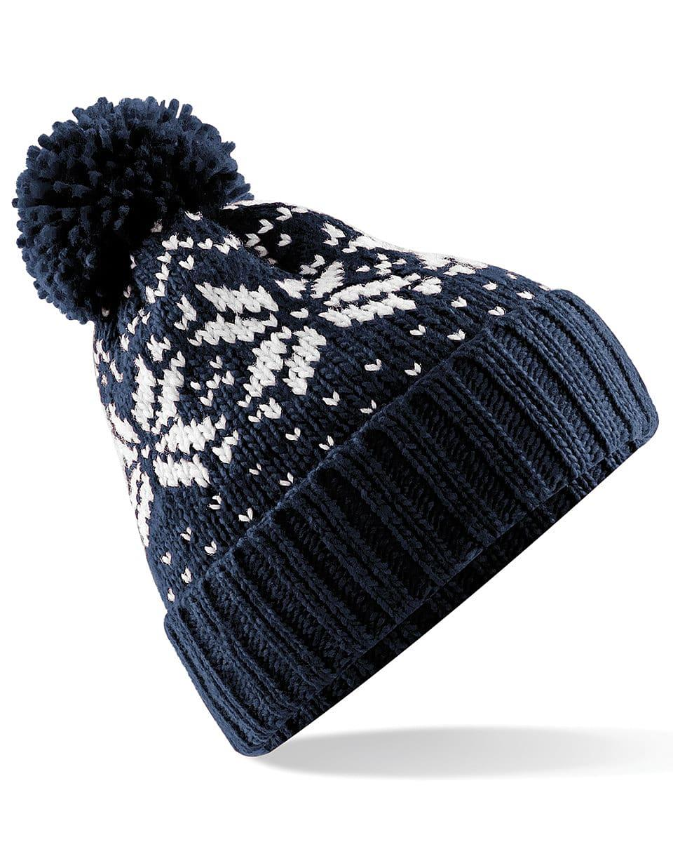 Beechfield Fair Isle Snowstar Beanie Hat in French Navy / White (Product Code: B456)