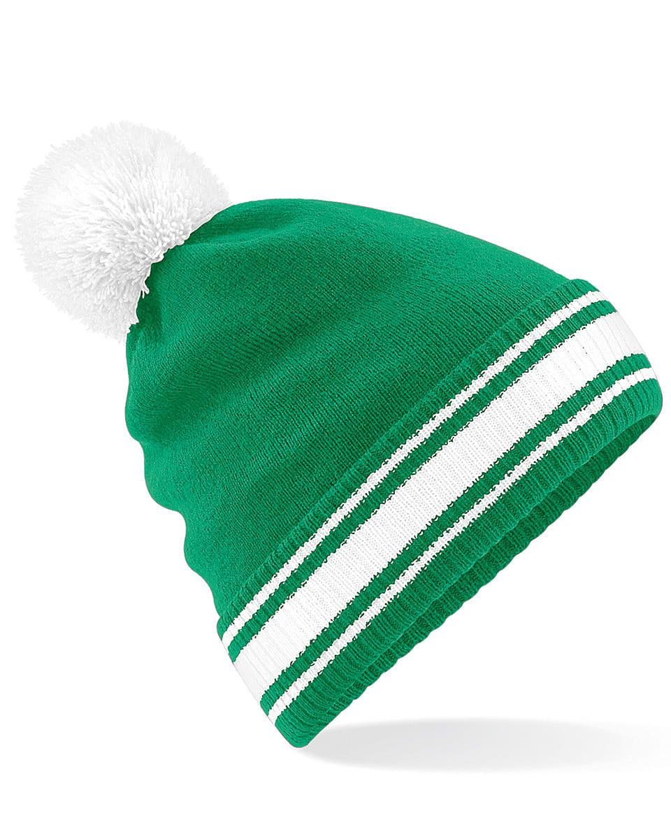 Beechfield Stadium Beanie Hat in Kelly Green / White (Product Code: B472)