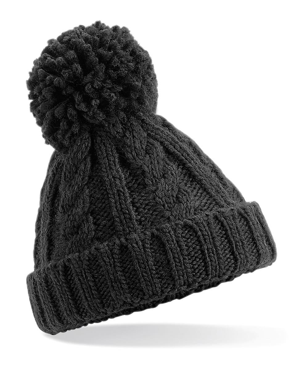 Beechfield Infant Cble Knit Melang Beanie Hat in Black (Product Code: B480A)