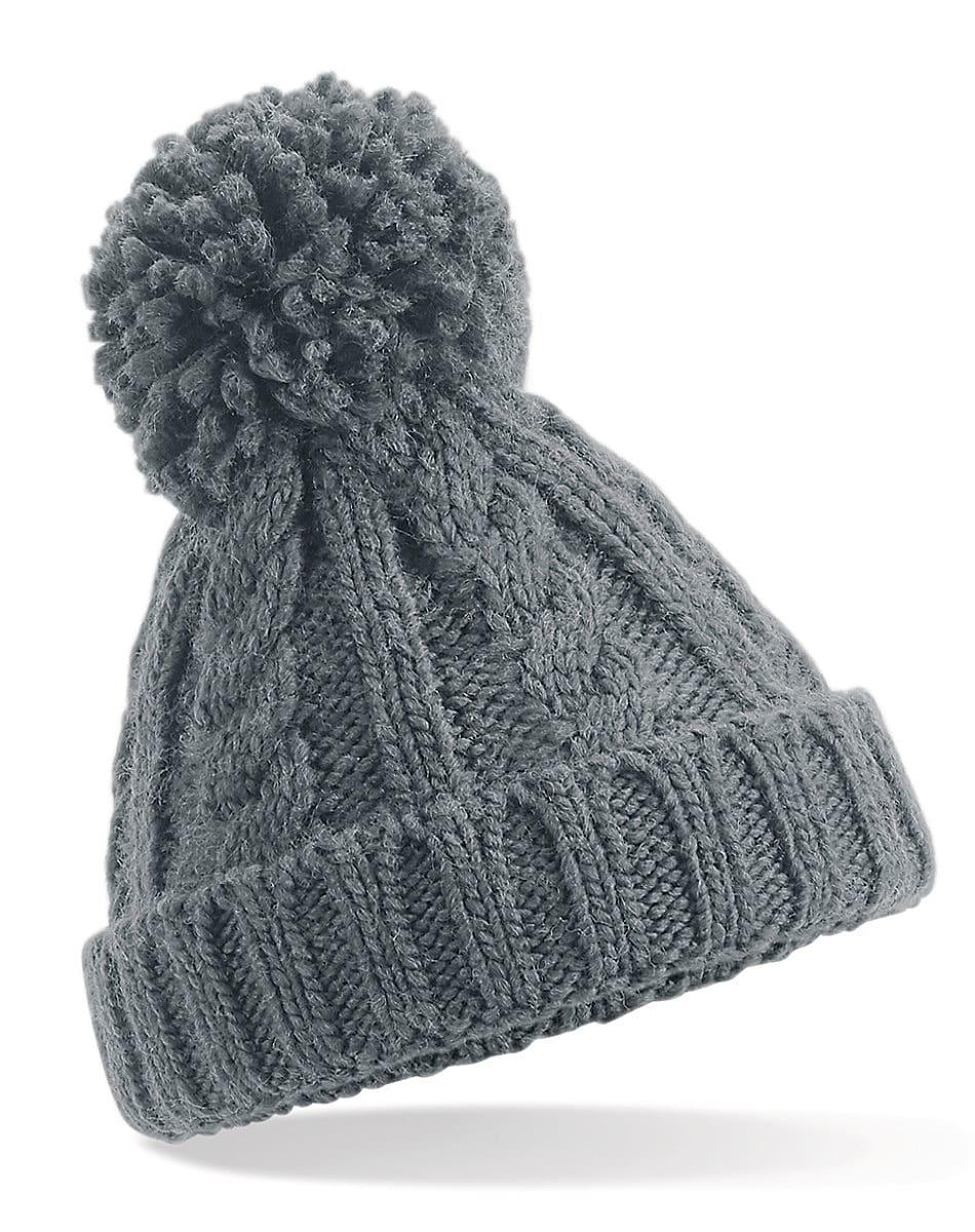 Beechfield Jr Cable Knit Melange Beanie Hat in Light Grey (Product Code: B480B)