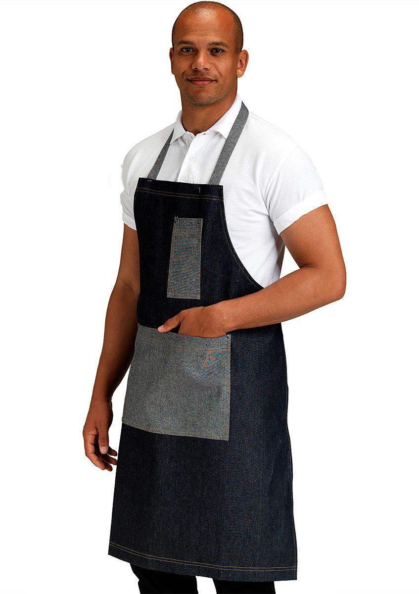 Dennys Contrast Pocket Bib Apron in Dark Blue Denim (Product Code: DP102B)