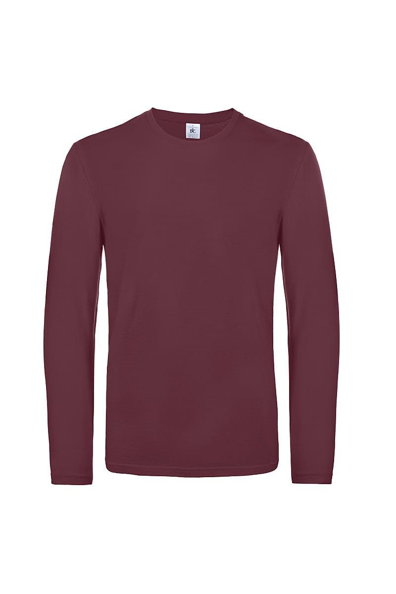 B&C Mens E190 Long-Sleeve Jersey in Burgundy (Product Code: TU07T)