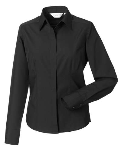 Russell Collection Womens Long-Sleeve Poly-Cotton Easy Care Fitted Poplin Shirt