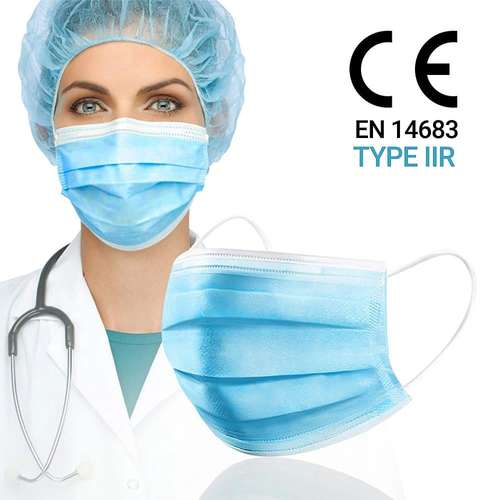 3 Ply Disposable Medical Face Masks - EN 14683 TYPE IIR (Box of 50)