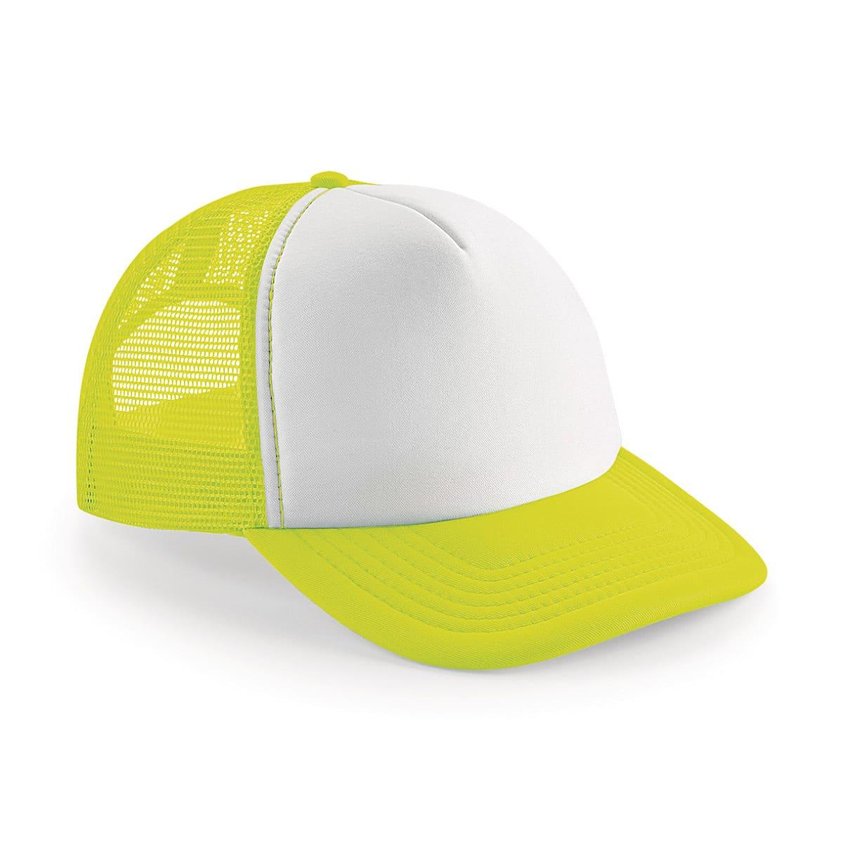 Beechfield Vintage Snapback Trucker Cap in Fluorescent Yellow / White (Product Code: B645)
