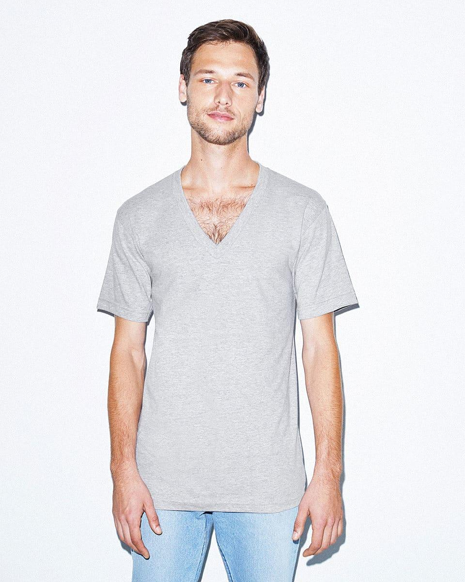 American Apparel Fine Jersey V-Neck T-Shirt in Heather Grey (Product Code: 2456W)