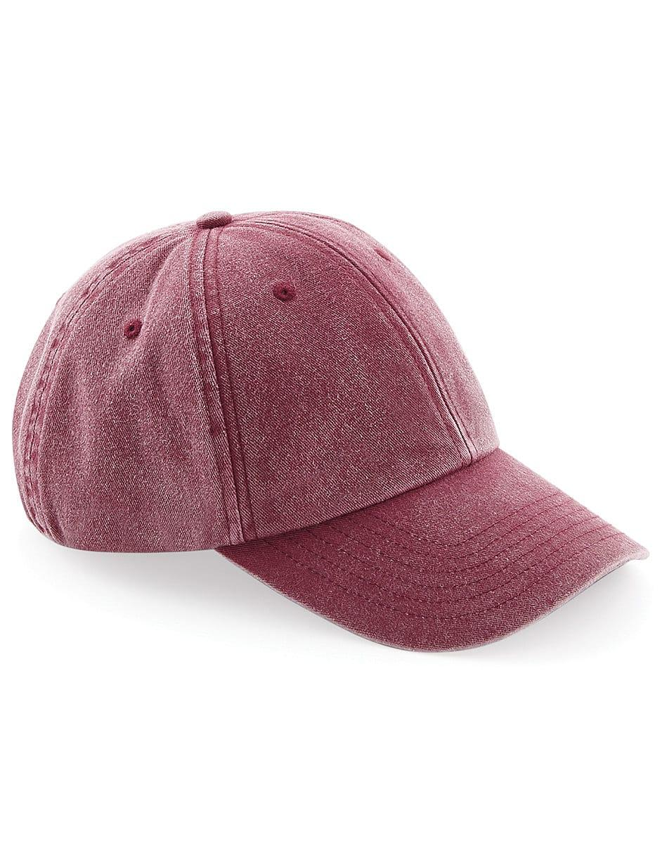 Beechfield Low Profile Vintage Cap in Vintage Red (Product Code: B655)