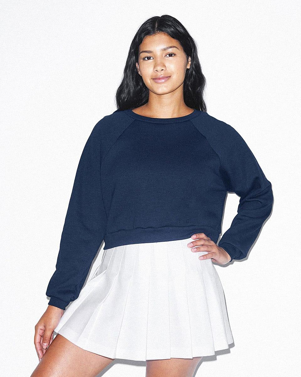 American Apparel Womens Crop Pullover in Navy Blue (Product Code: RSAF3451W)