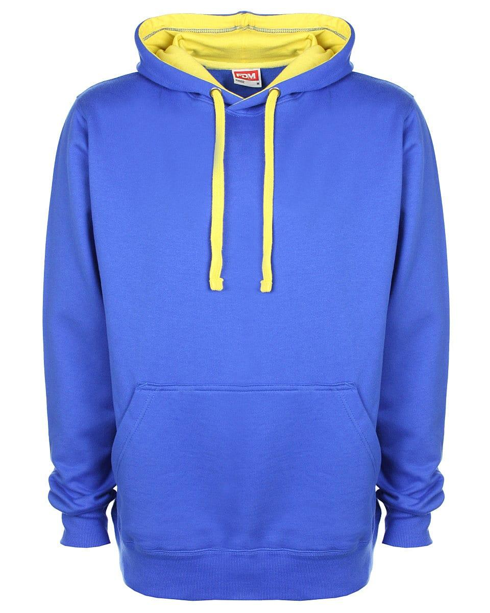 FDM Unisex Contrast Hoodie in Royal / Empire Yellow (Product Code: FH002)