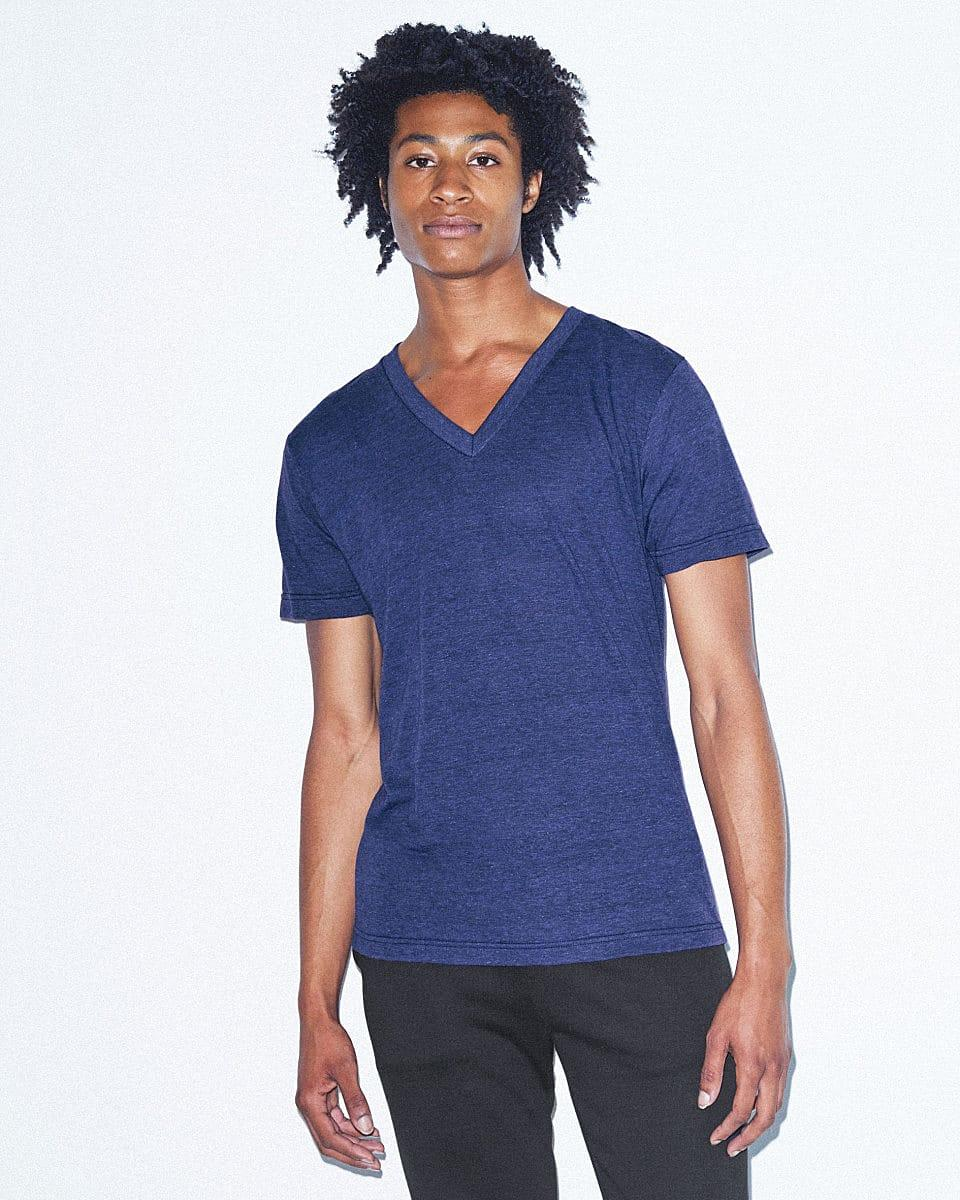 American Apparel Unisex Ss Vneck T-Shirt in Tri Indigo (Product Code: TR461W)