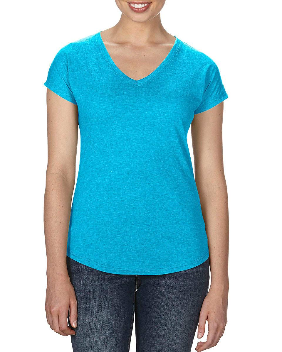 Anvil Womens Tri-Blend V-Neck T-Shirt in Heather Caribbean Blue (Product Code: 6750VL)