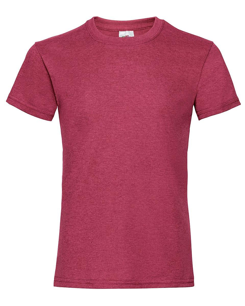 Fruit Of The Loom Girls Valueweight T-Shirt in Vintage Heather Red (Product Code: 61005)