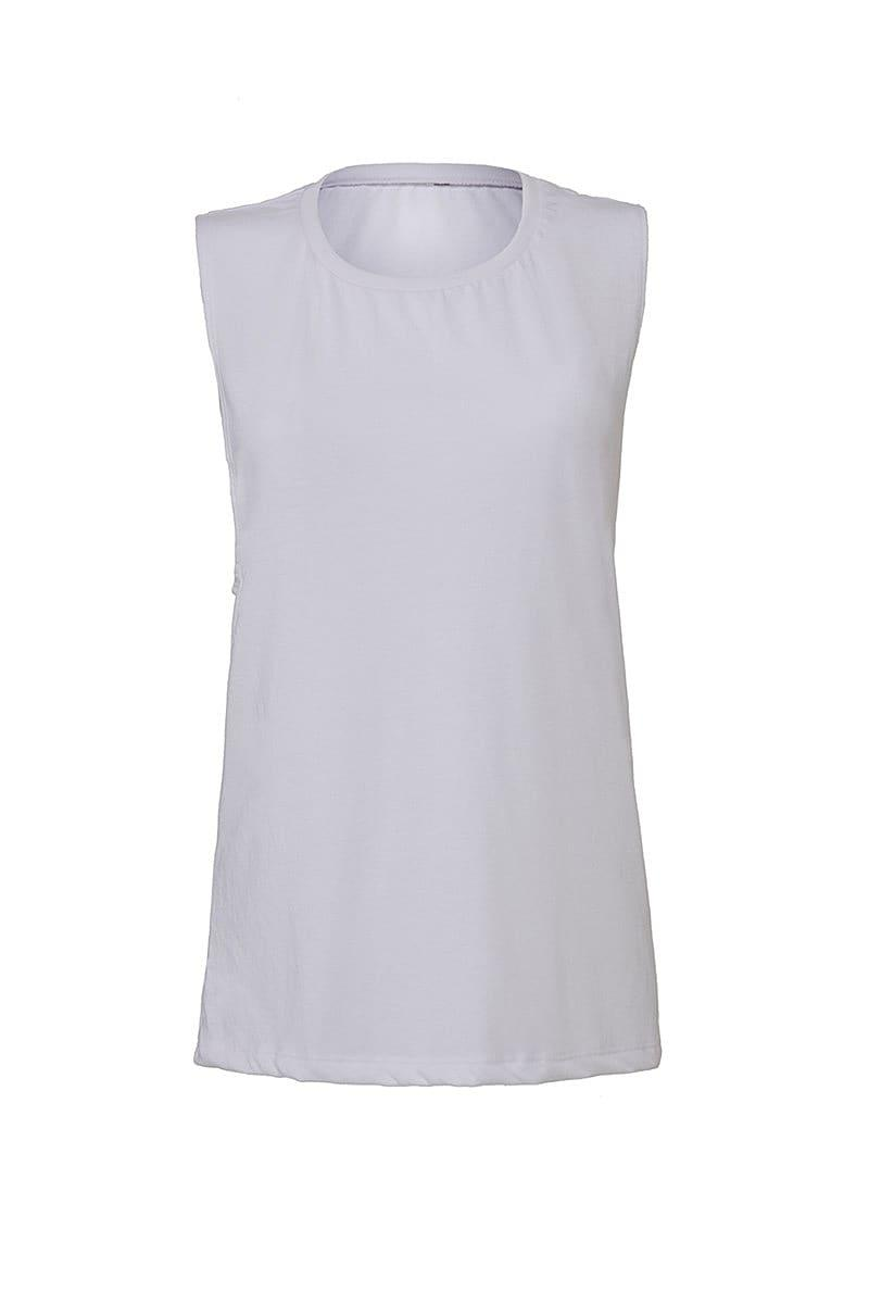 Bella Womens Flowy Scoop Muscle Tank in White (Product Code: BE8803)