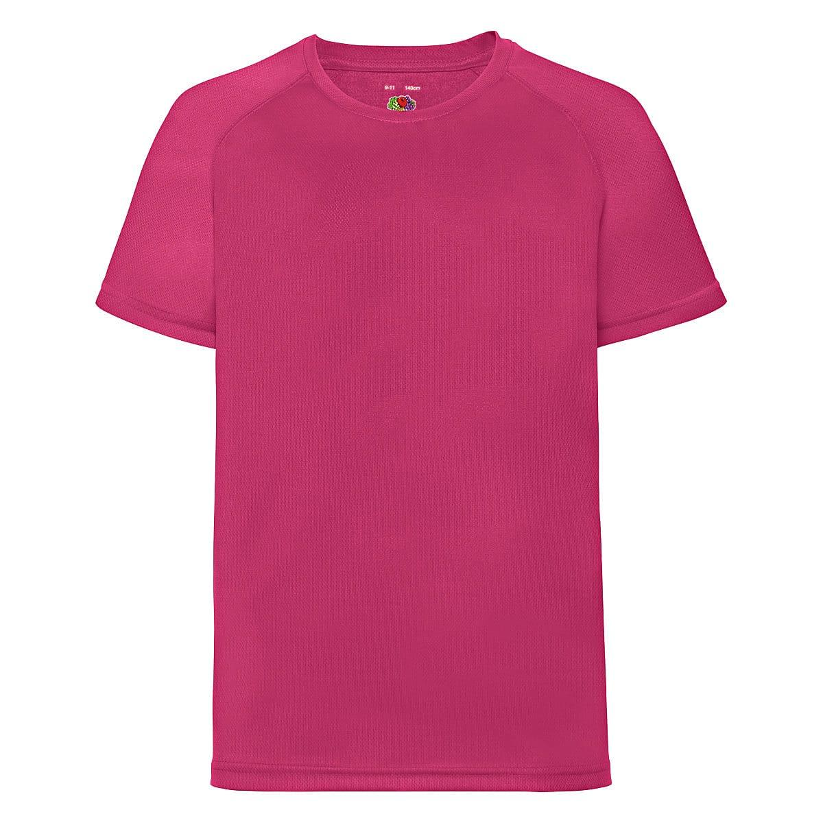 Fruit Of The Loom Childrens Kids Performance T-Shirt in Fuchsia (Product Code: 61013)