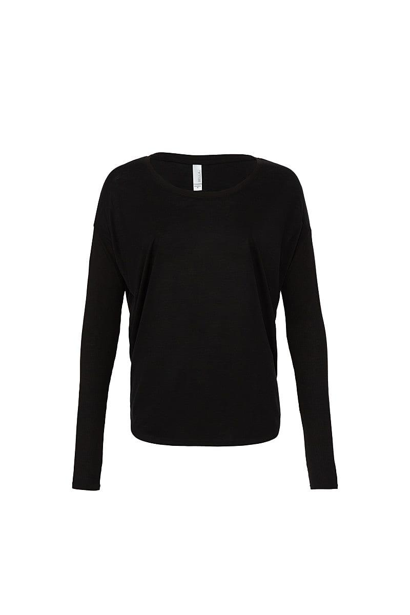 Bella Long-Sleeve Flowy 2x1 T-Shirt in Black (Product Code: BE8852)