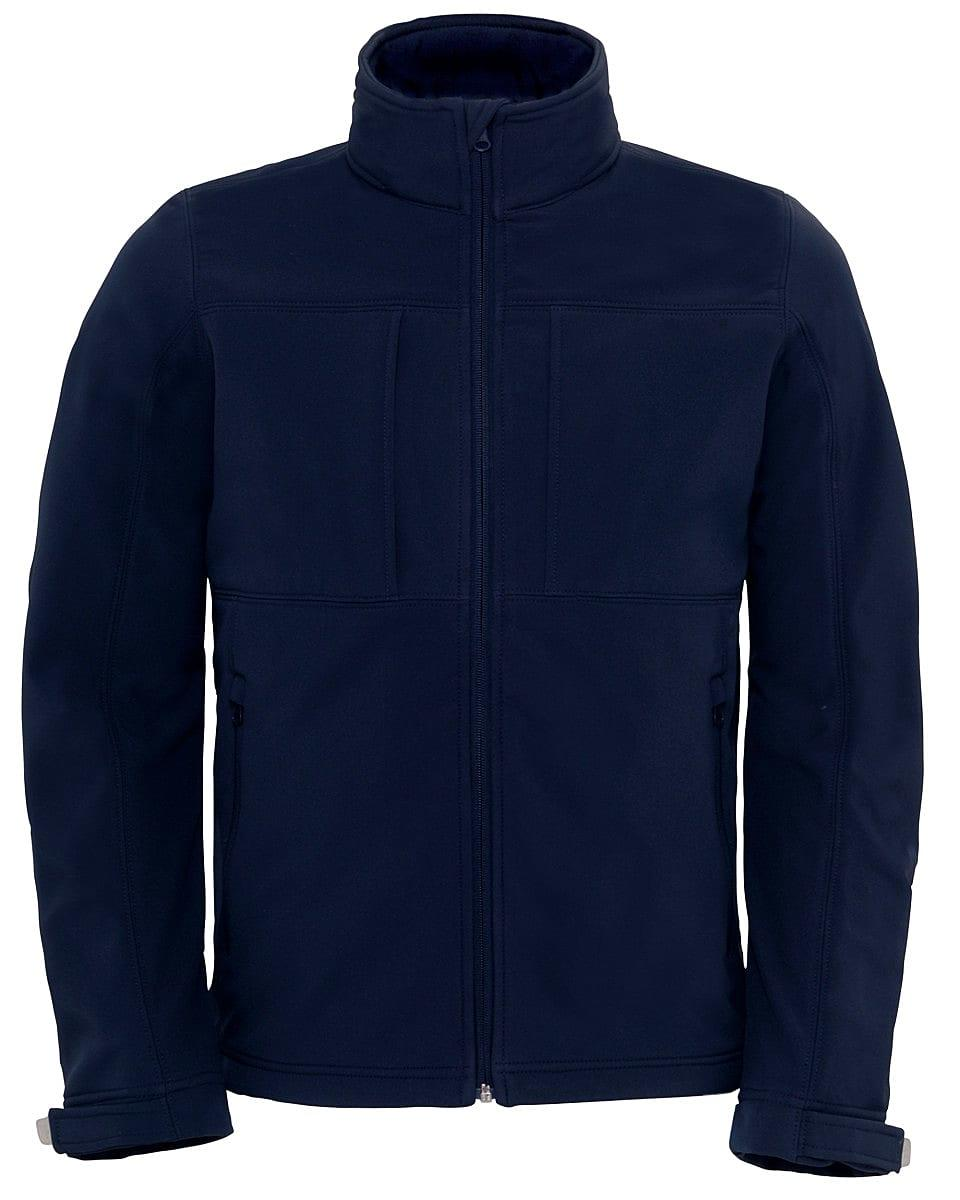 B&C Mens Hooded Softshell Jacket in Navy Blue (Product Code: JM950)