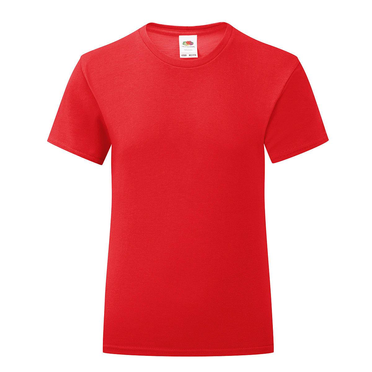 Fruit Of The Loom Girls Iconic T-Shirt in Red (Product Code: 61025)