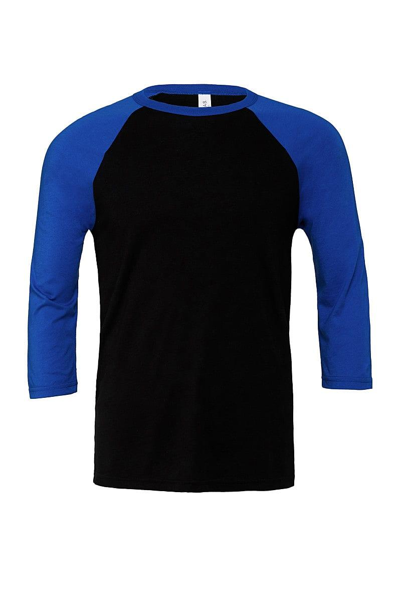 Bella Canvas 3/4 Baseball T-Shirt in Black / True Royal (Product Code: CA3200)