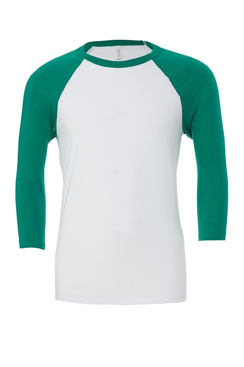 Bella Canvas 3/4 Baseball T-Shirt in White / Kelly Green (Product Code: CA3200)