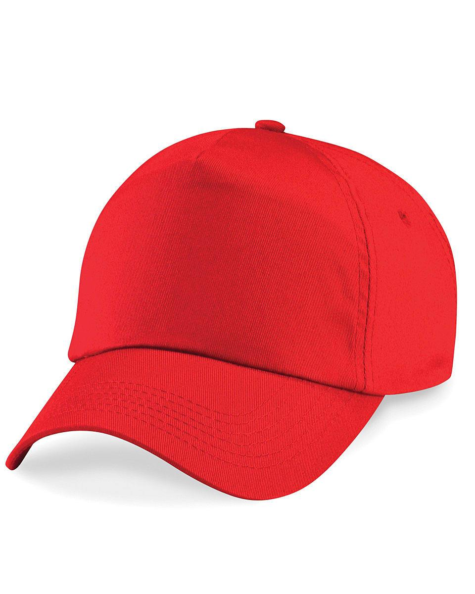 Beechfield Junior Original 5 Panel Cap in Bright Red (Product Code: B10B)