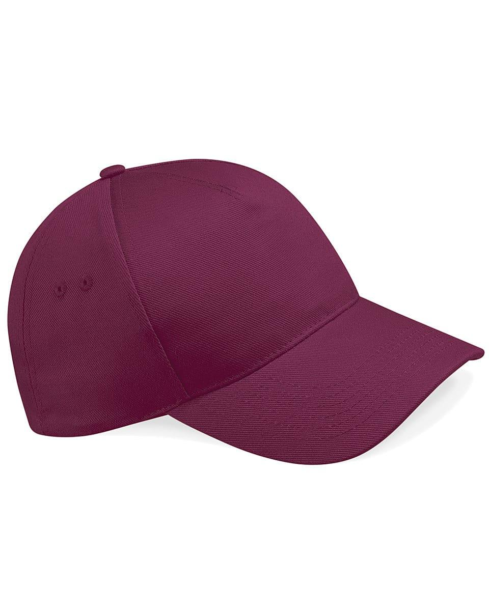 Beechfield Ultimate 5 Panel Cap in Burgundy (Product Code: B15)