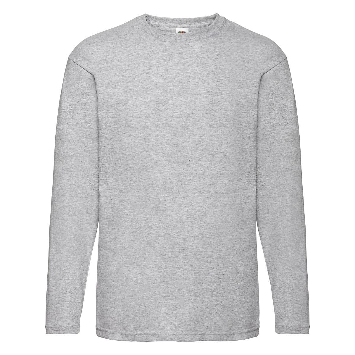 Fruit Of The Loom Valueweight Long-Sleeve T-Shirt in Heather Grey (Product Code: 61038)